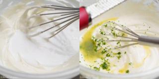 クリームチーズに生クリームを混ぜる、シークワーサーの絞り汁・皮を混ぜる